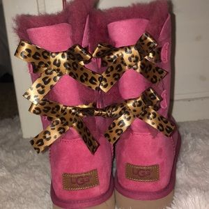 Pink Uggs with Cheetah Bows